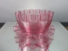 Victorian Threaded Cranberry Glass Crimped Rim Bowl & Underplate