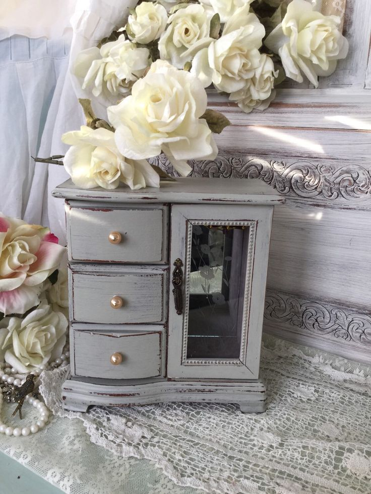 Shabby Chic Vintage Jewelry Box, Tall Jewelry Armoire, French Farmhouse, Cottage Chic, Vintage Up-cycled, musical Jewelry Box, chippy grey  by Fannypippin on Etsy https://www.etsy.com/listing/223795446/shabby-chic-vintage-jewelry-box-tall
