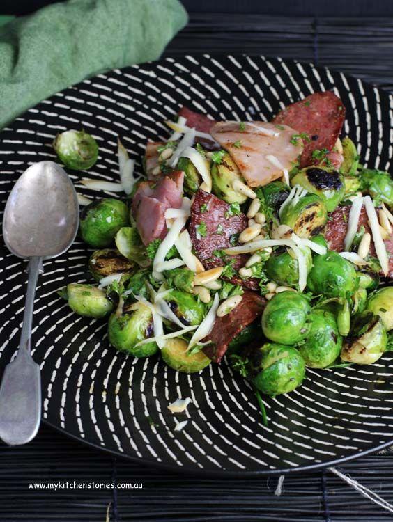 BBQ Sprouts, Grilled Salami, Smoked Mozzarella