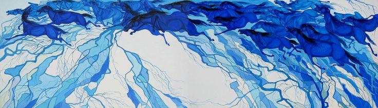 HORSES OF THE SKY acrylic, canvas 388x112 cm 2007