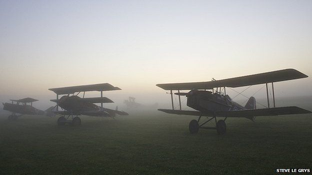 Airplanes at dawn at Stow Maries Aerodrome