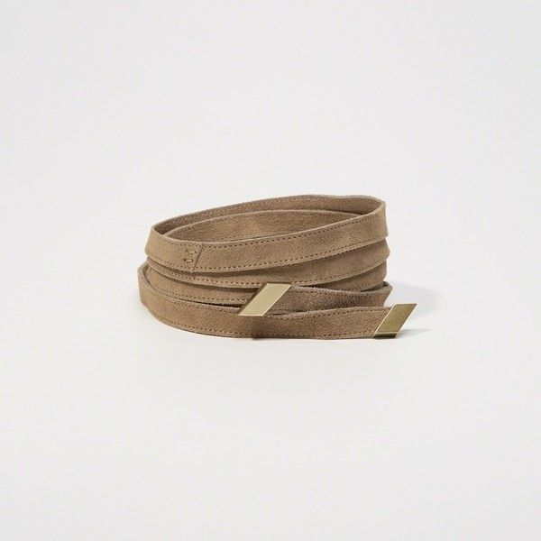 Abercrombie & Fitch Suede Wrap Belt ($34) ❤ liked on Polyvore featuring accessories, belts, light brown, wrap belt, gold metal belt and light brown belt