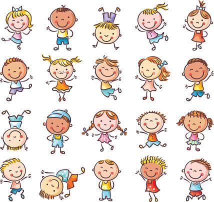 Vinte esboços de crianças felizes pulando de alegria - ilustração de arte em vetor