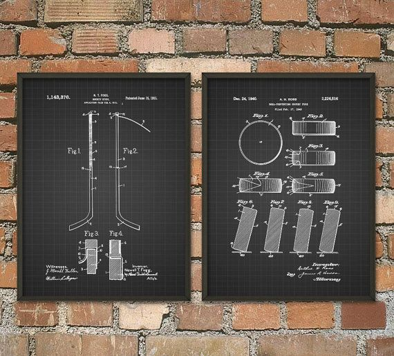 Ice Hockey Patent Print Set Of 2 Ice Hockey Puck by QuantumPrints