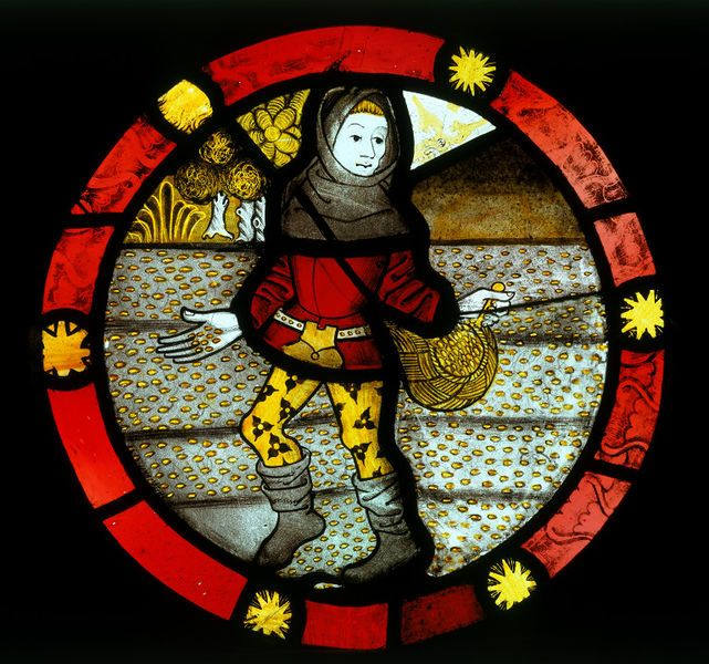 October; The Labours of the Months  Object: Roundel  Place of origin: Norwich, United Kingdom (made)  Date: ca. 1480 (made)  Artist/Maker: Unknown (production)  Materials and Techniques: Clear and coloured glass with painted details in brown/black pigment and yellow (silver) stain