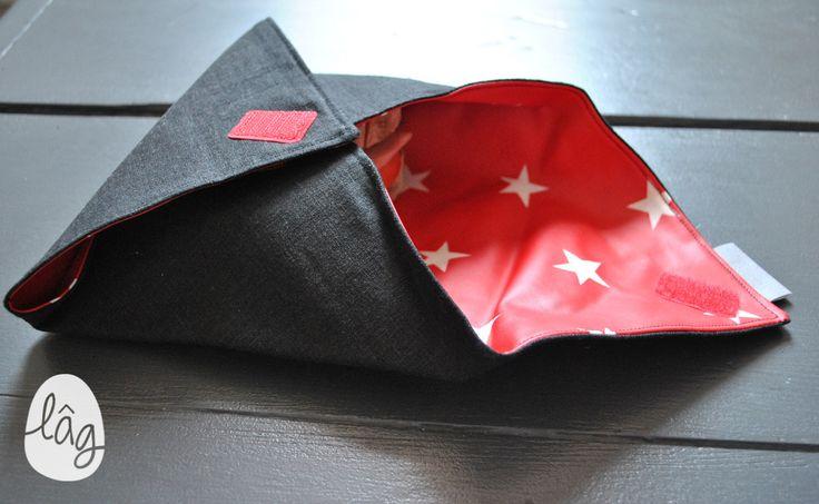 Sac à lunch, pochette à sandwiches, forme enveloppe noire