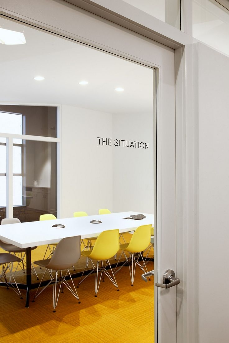 Meeting/ conference room, yellow pop is very nice!