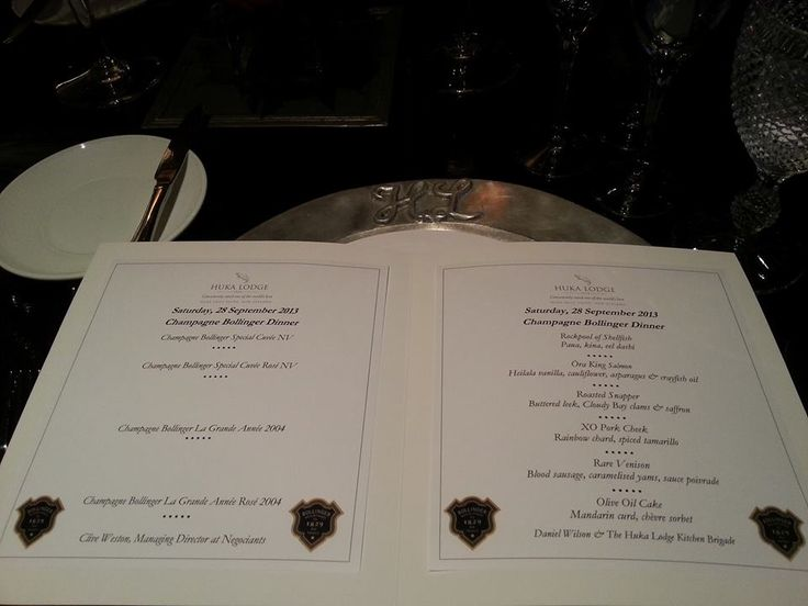 The menu for the evening - Champagne Bollinger Dinner at Huka Lodge