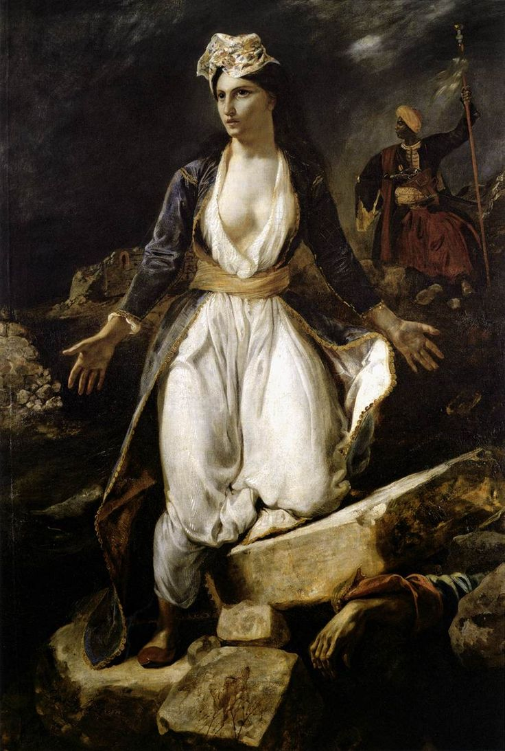 EUGENE DELACROIX (French):  Greece on the Ruins of Missolonghi-allegorical personification.