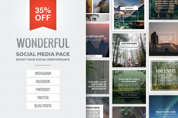Wonderful Social Media Pack by DESIGN HQ on @creativemarket