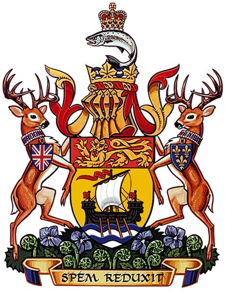 The original coat of arms of New Brunswick, Canada, was granted to New Brunswick by a Royal Warrant of Queen Victoria on 26 May 1868.The provincial flag is a banner of the arms.