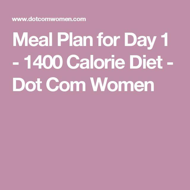 Meal Plan for Day 1 - 1400 Calorie Diet - Dot Com Women