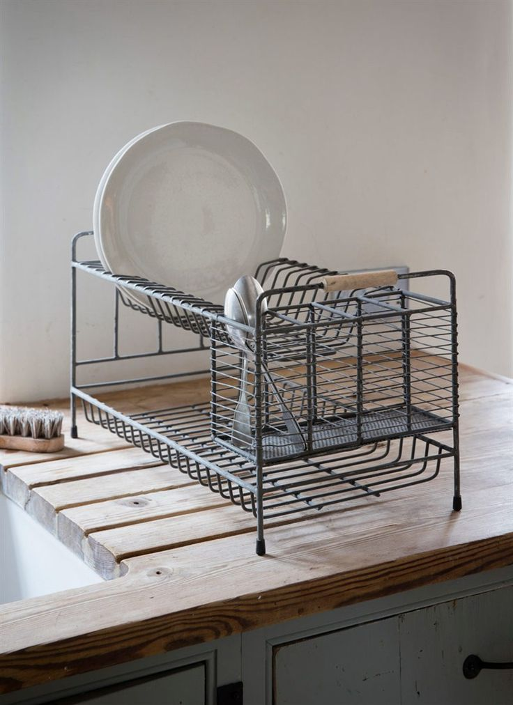 A stylish two-tier washing up drainer in distressed grey