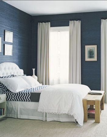 blue bedroom - master. How to lighten the room that has dark walls