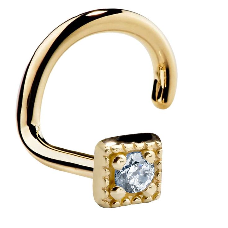 This modern gold square twist screw nose ring is a great alternative to the classic studs, as it comes with elevated dosages of magnetism thanks to its unique fusion design. Featuring a sparkly Cubic Zirconia gem in a square gold setting of your choice, this 14 K gold beauty is ready to complete any outfit.