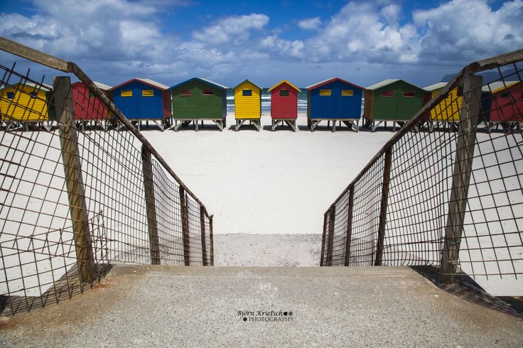 The legendary colorful Muizenberg beach huts, South Africa.