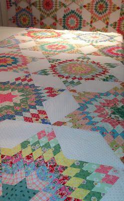 Star quilt in progress by Rahna Summerlin  bloominginchintz.blogspot.com: