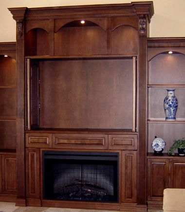 Large Wall Size Entertainment Center   Electric Fireplace   Plenty Of Room  For DVDS   Display