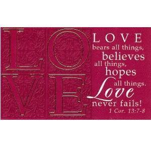LOVE (1 Cor. 13:7-8) - Pass-Around Card