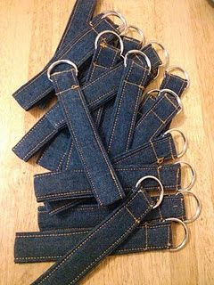 Key chain from old jeans  -- such a blank canvas waiting for Contrast color Machine stitching for fancy effect (design, ducky, boat or flower) or personalization with name or short phrase -- a craft booth item...