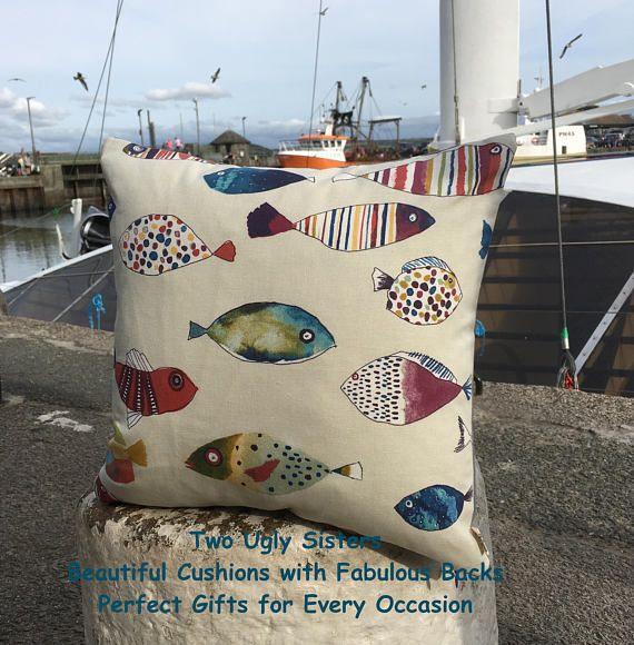 Fisherman Gift Fish Cushion Fish Print Pillow Tropical Fish