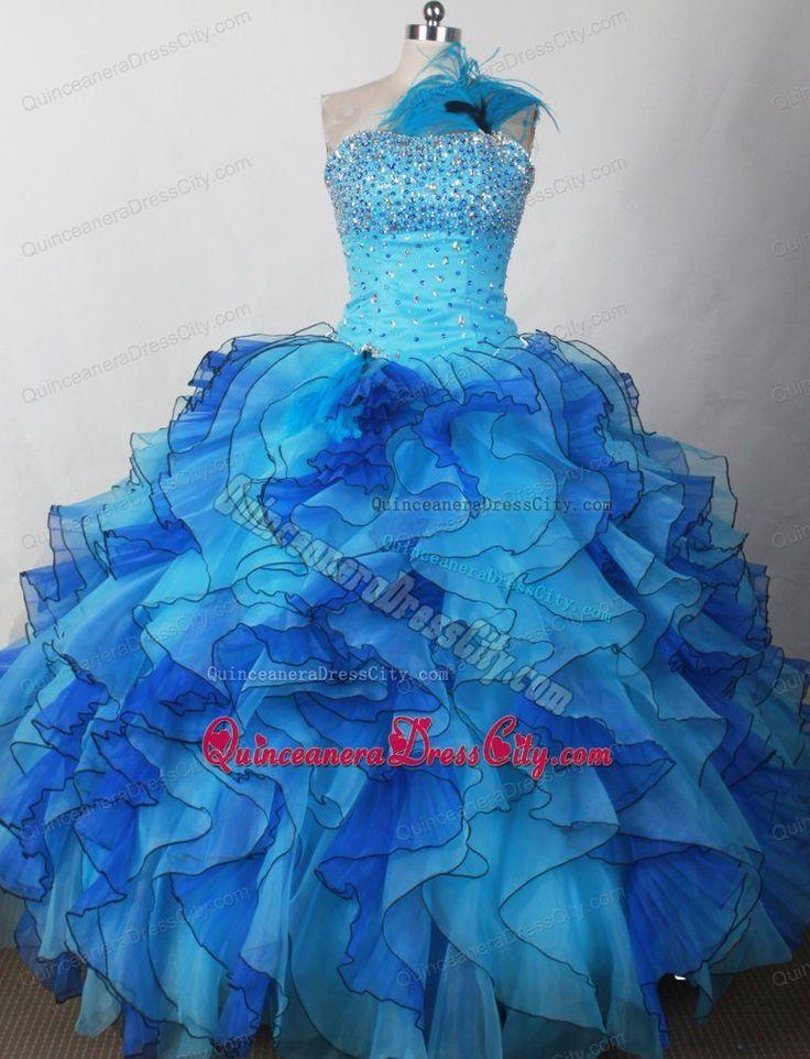 Cheap Puffy Ruffled Beaded Blue Pageant Dresses for Juniors