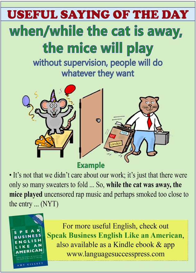 "Here's a very useful saying for ESL students - when (or while) the cat's away, the mice will play. This is a fairly common saying in business, where there is fear that unsupervised workers will not doing their jobs, but will instead find fun stuff to do (sometimes outside of the office!). It's also common in personal life, such as when parents go on a trip, leaving teenage children behind to ""run"" the house!"