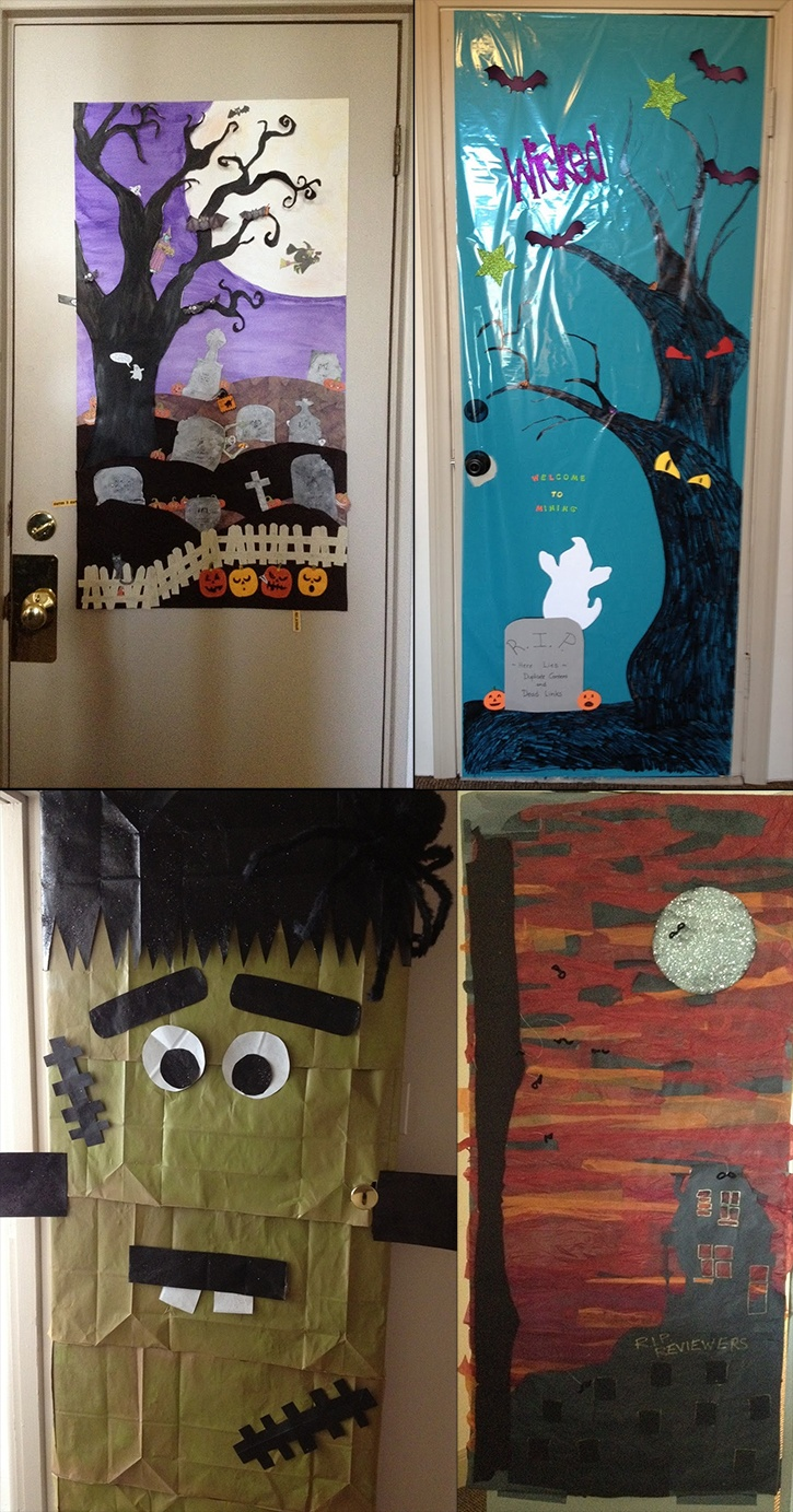 "Nobody beats teachers when it comes to creative door decorating! Check out a few of the eerie ""entries"" from Lesson Planet's #Halloween office door decorating contest."