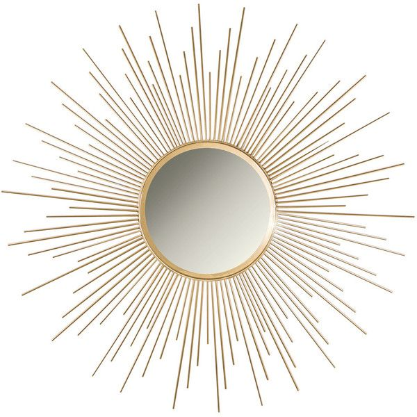 Sagrada Sunburst Wall Mirror, Gold - Midcentury - Wall Mirrors - by... ❤ liked on Polyvore featuring home, home decor, mirrors, mid century modern mirror, sun shaped mirror, gold mirror, gold wall mirror and sunburst mirror