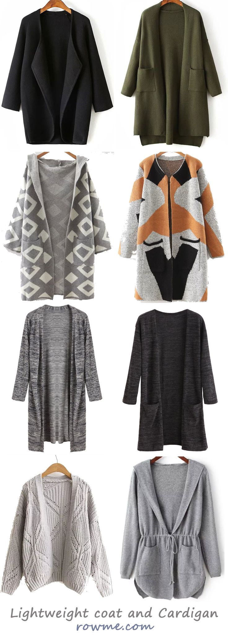 Chic fall lightweight coat and cardigan - rowme.com