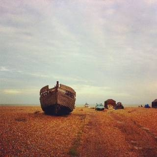 An abandoned fishing boat at Dungeness