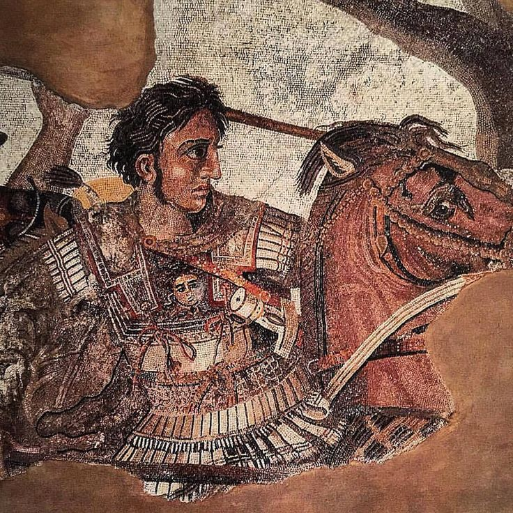📷 This photograph shows a detail from one of the most celebrated ancient mosaics to have survived into the modern era. The mosaic depicts Alexander the Great's defeat of the Persian king Darius; the...