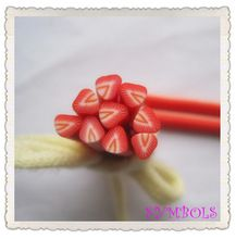 5 stücke A-12 5mm Nette Erdbeere Obst Plastik Erdbeere-form-frucht-stock-fantasie-nagel-kunst-plastik-lehm-stock Nail art Dekoration(China (Mainland))