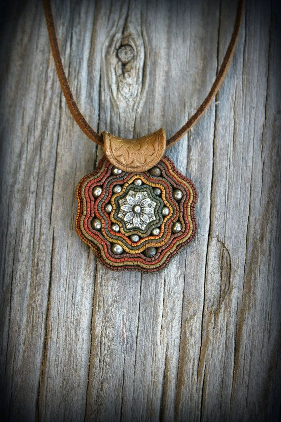 Boho polymer clay pendant on natural leather. Native design natural earthy by PeaceElements on Etsy.