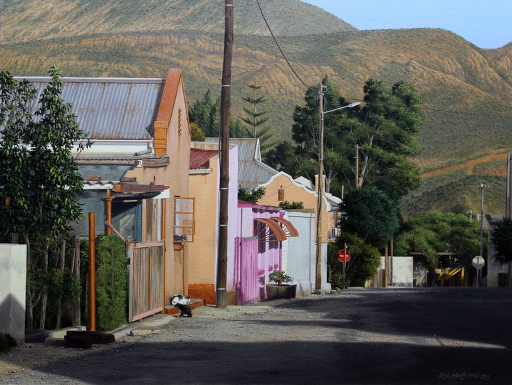 """"""" cat in the window"""" in a small town called Calitzdorp in the Karoo."""