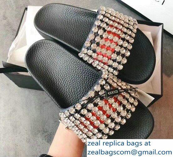 870b7fa5771 Gucci Crystals Web Slide Sandals 505330 2018