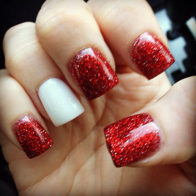 Glitter Red with White Accent Acrylic Nails
