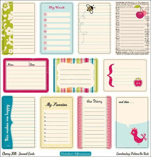 Free printable journaling cards: Printable Projects Life, Cute Cards, Printable Journals, Free Printable Tags, Journals Cards, October Afternoon, Journals Printable, Scrapbook, Smash Books