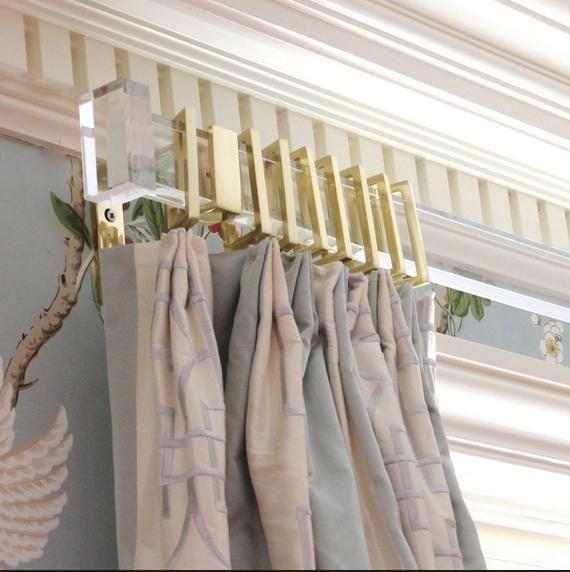 Custom Lucite Rectangular Curtain Rod Brass Or Nickel Lucite