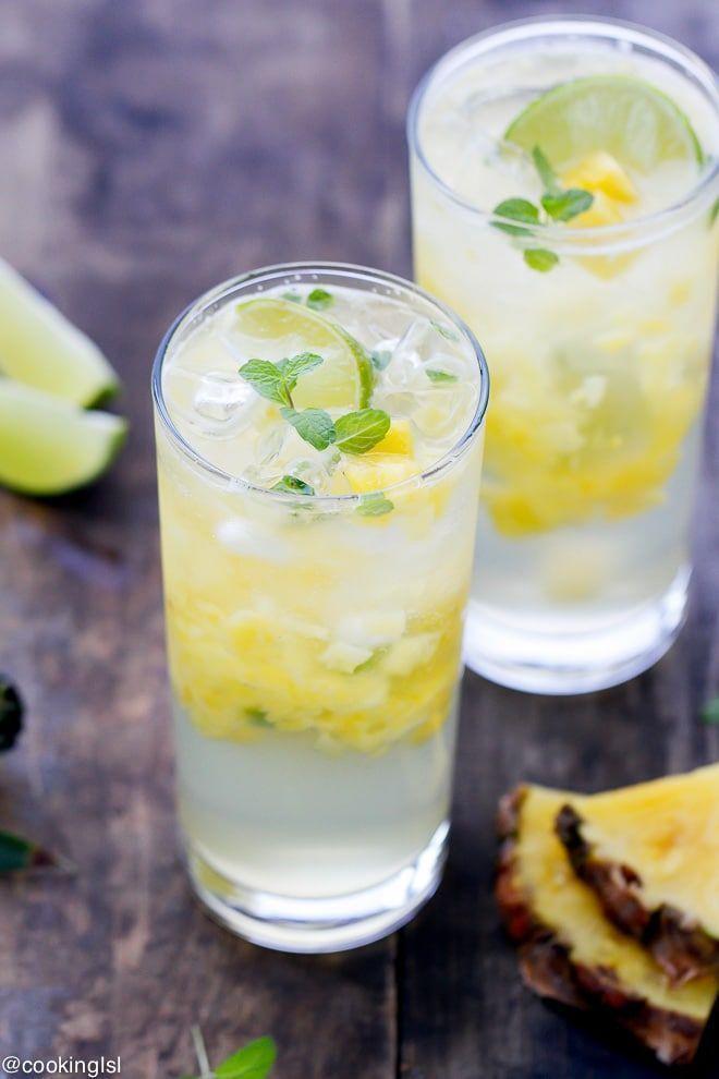 Ananas Mojito Cocktail Rezept - Erfrischungsgetränk mit tropischen Aromen nur i...