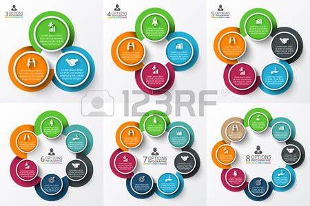 options: Vector círculo infografía. Plantilla para el diagrama del ciclo, gráfico, la presentación y el gráfico ronda. Concepto de negocio con 3, 4, 5, 6, 7 y 8 opciones, partes, etapas o procesos. Visualización de datos.