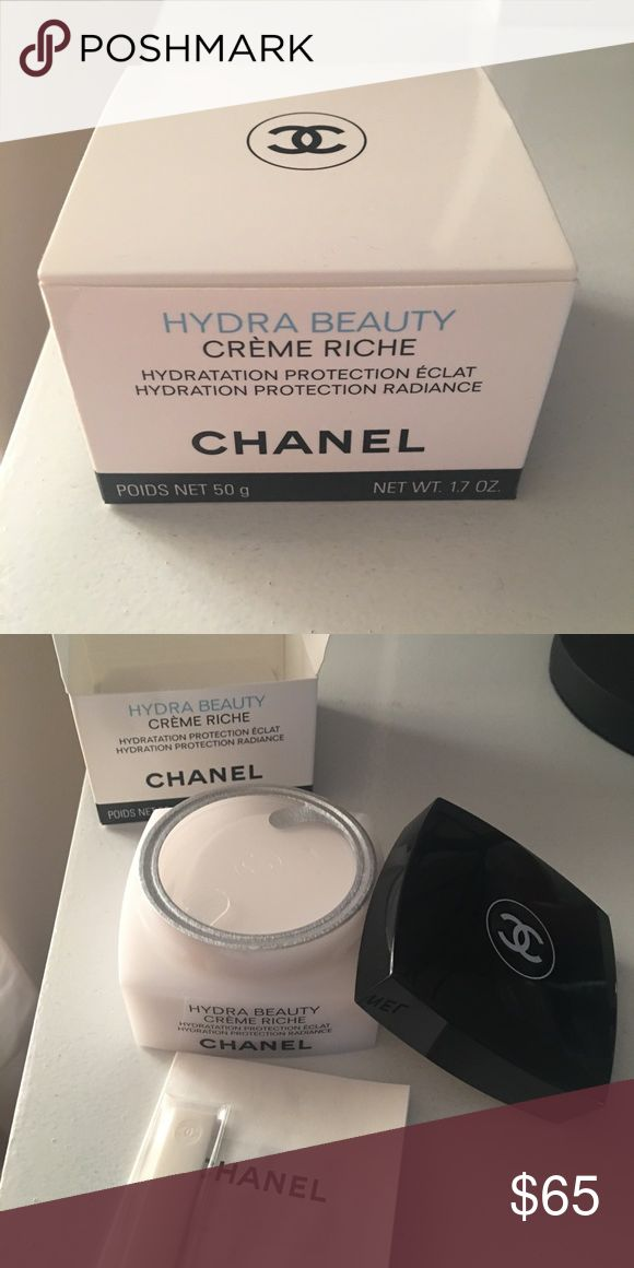 Chanel hydra beauty Creme riche moisturizer Chanel moisturizer in Creme riche, this is for Someone with normal to dry skin. I love this luxury creme it is hydrating and has an amazing smell. This item is unused and sealed. Makeup