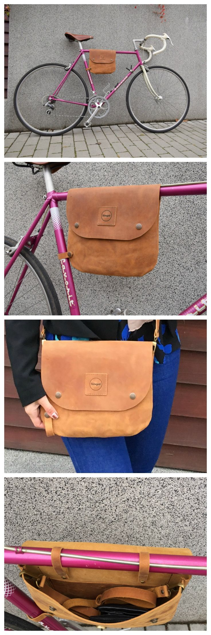 Leather frame bag for bicycle by Bikegab. Now on Etsy!   https://www.etsy.com/listing/467117286/leather-bicycle-frame-bag-shoulder-bag