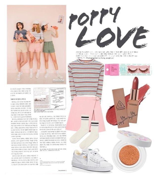 """Korean style #koreanstyle #simple #3ce #polyvore #polyvoreid #polyvorekorea"" by vikapranika on Polyvore featuring Topshop, Puma and shu uemura"