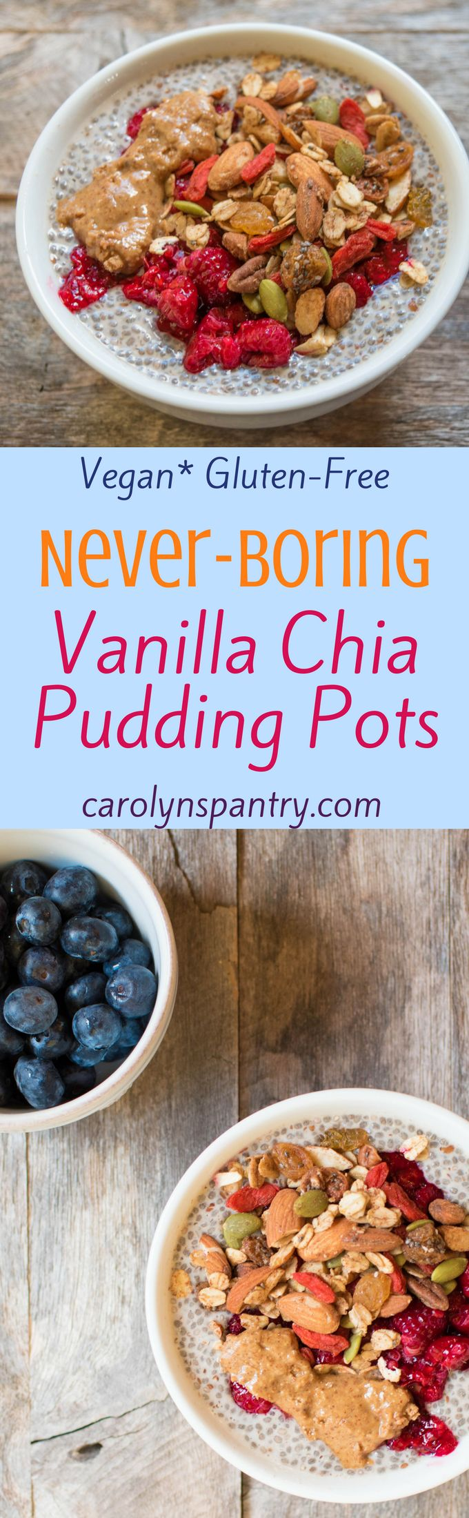 Vanilla Chia Pudding pots that are ALWAYS delicious and NEVER boring! This light, easy, pant-based and gluten-free breakfast can be ready in under 10 minutes and is the perfect way to start your day. It's wonderfully creamy when made right and comes loaded with fiber, omega-3s, protein, and iron to keep you going strong throughout the day.
