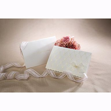 Spring Flower Embossed Wedding Invitation With Organza Bow (Set Of 50)