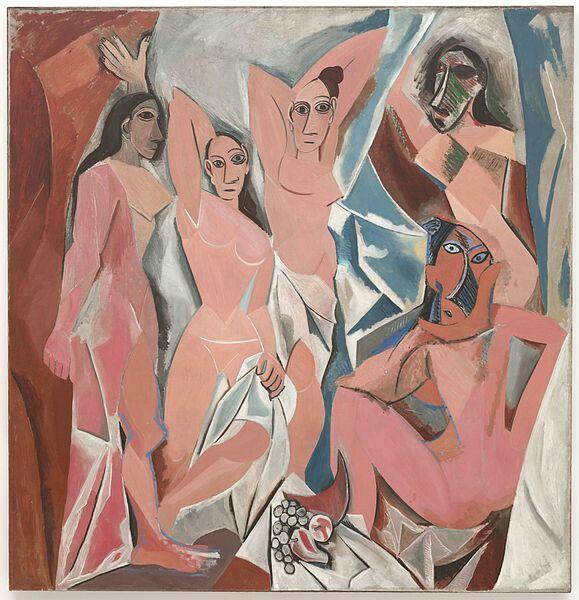 Hier zie je een schilderij van picasso, genaamd:Les Demoiselles d'Avignon. Dit schilderij was het laatste schilderij dat we na moesten tekenen.