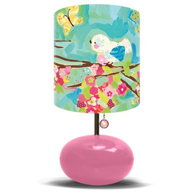 Pink Lamp: Lamps, Girl Room, Girl Nursery, Baby, Cherries, Cherry Blossoms, Blossom Birdies