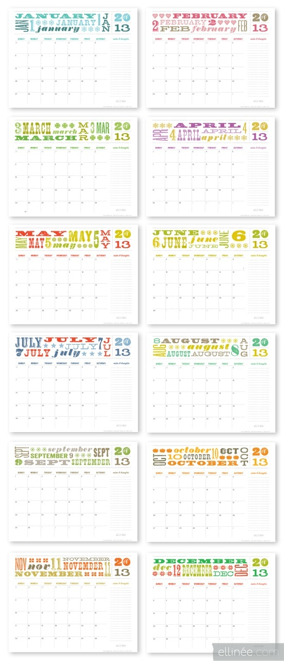 Printable Calendar for 2013 ~ love this one! #rainbow #monthly #free