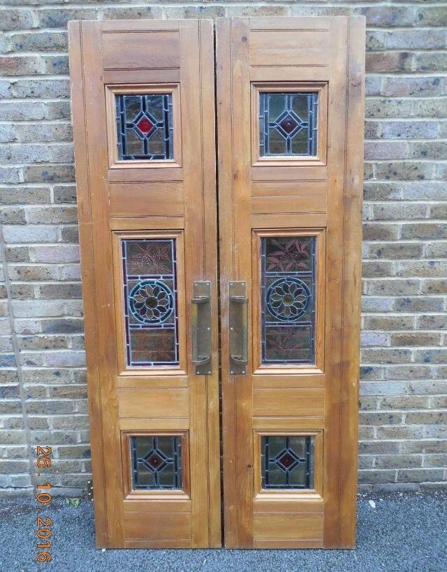 Fantastic reclaimed pair of internal stained and painted glass doors. Stained glass is original in one door, and professionally copied in the other. One pane has newer pine architrave and one panel has cracked glass but other than that are in good condition. | eBay!